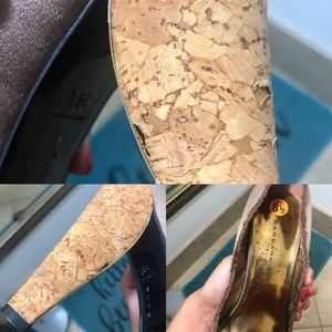 Barbara Bui Shoes - BARBARA BUI 38 1/2 8.5 Brown satin & cork heels